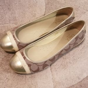 Coach Gold Signature flats